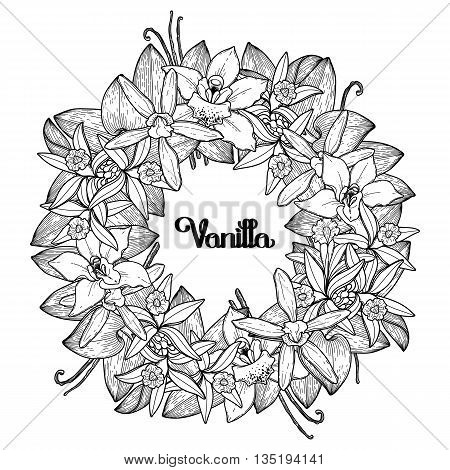Graphic vanilla wreath. Vector floral decoration. Coloring book page design for adults and kids