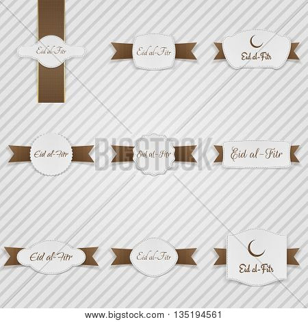 Eid al-Fitr realistic Labels with Text and Ribbons. Vector Illustration