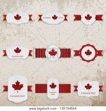 Happy Canada Day paper Banners with greeting Text. Vector Illustration
