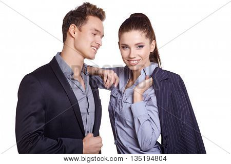 Business couple on white studio  background