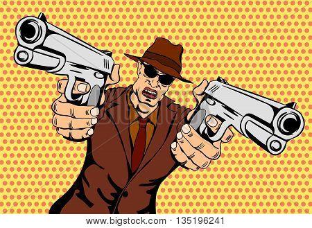 Mafioso with Gun. Retro Mafia Man. Pop Art Mafia Boss. Vector illustration