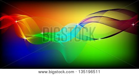 Abstract colorful background with waves. Waves in different colors: pink, purple,red,orange,yellow,green,blue. Abstract color wave. Template brochure design.