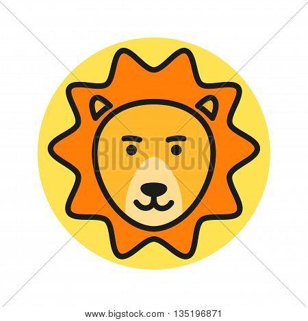 Cute Cartoon Lion Head. Vector Icon Illustration