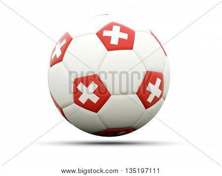 Flag Of Switzerland On Football