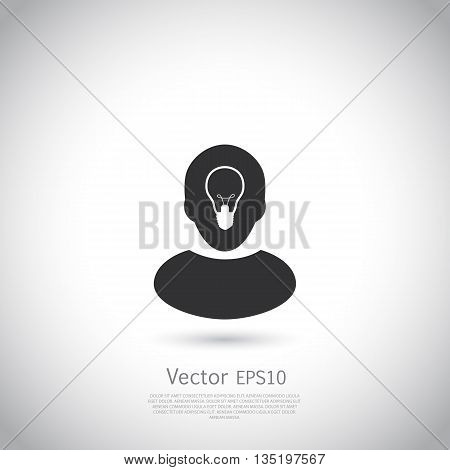 Human head with lamp inside. Ide icon or logo on gray background with place for your text. Vector.