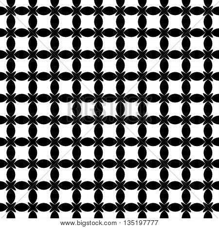 Stars and ovals geometric seamless pattern. Fashion graphic background design. Modern stylish abstract monochrome texture. Template for prints textiles wrapping wallpaper etc VECTOR illustration