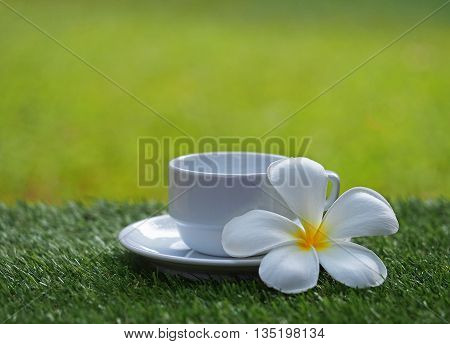 Morning coffee cup  with flower on grass, soft focus