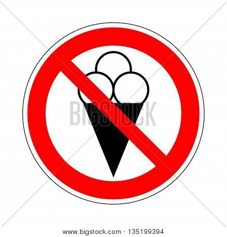 No ice cream symbol. No ice-cream. Stop ice cream. Red forbidding sign for ice-cream. Ban cold dairy delicacy. Forbidden to eat sweets. Red icon without ice cream. No eating sign. Vector illustration
