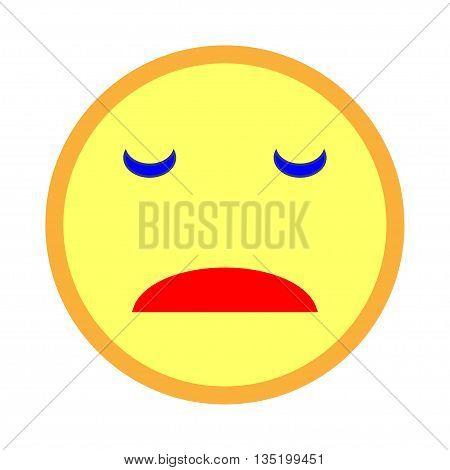 Sad smiley emoticon on white background. Vector illustration of yellow sad smile. Smile icon vector smile icon object smile icon image smile icon picture. Stock vector