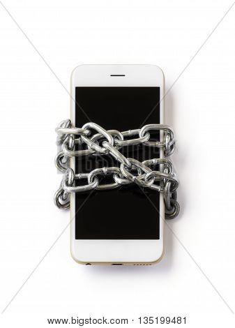 Front view of mobile phone with chain locked isolate on white background with clipping path. Concept of social network issues forgot password information security robbery or piracy