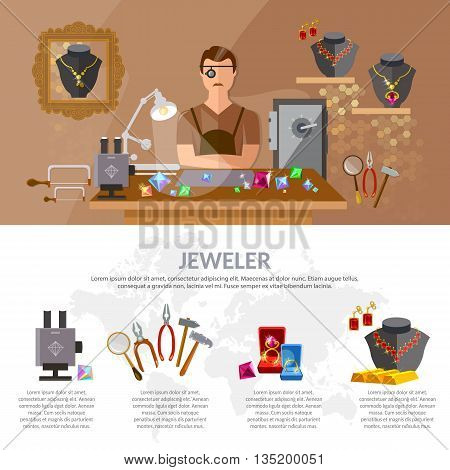 Jewelry infographics jewels earrings rings gems jeweler at work making jewelry vector illustration