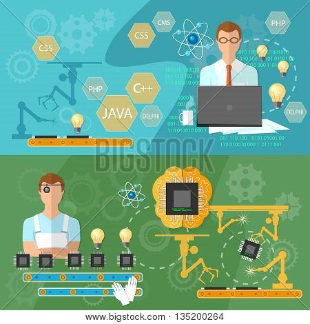 Creating banners creative technology computer production professional programmer assembly line process of assembling computers operator conveyor creation of microchips vector
