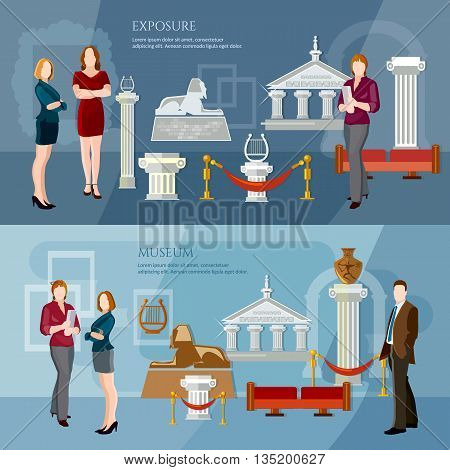 Museum exposition banner people visiting antique museum excursion people in the art museum vector illustration
