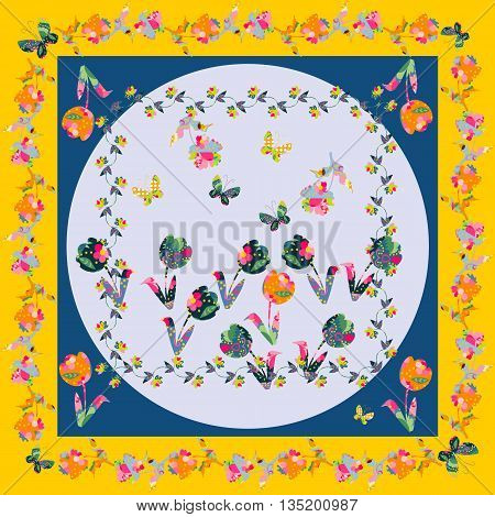 Decorative motif with flowers for napkins, shawls and handkerchiefs. Bandana print or kerchief square pattern design style for print on fabric. Vector illustration.