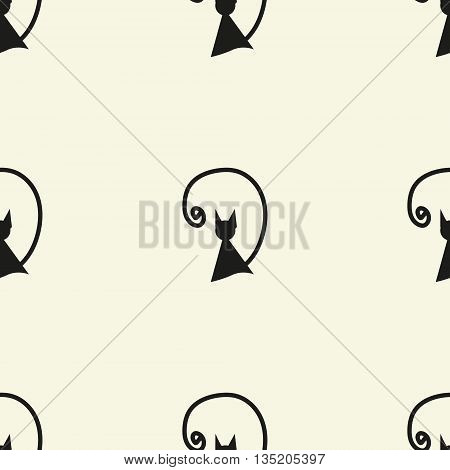 Seamless cat pattern. Vector textile color stock design