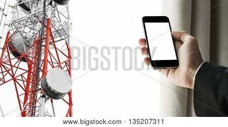 Businessman using mobile phone with curtain opening, and satellite dish telecom network on telecommunication tower, isolated on white background, telecommunication in business and development