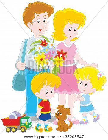Happy family together. Vector illustration of a mother, a father, their little children and small pup, on a white background