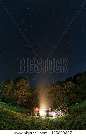Fisheye view of a campfire. Motion blur