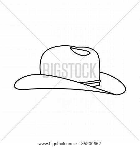 Cowboy hat icon in outline style isolated on white background. Headdress symbol