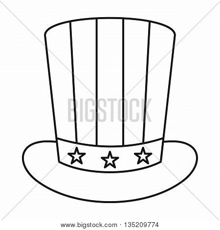 American hat icon in outline style isolated on white background
