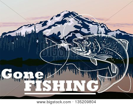 Illustration of wild trout. Vector illustration can be used for web design cards logos and other design.