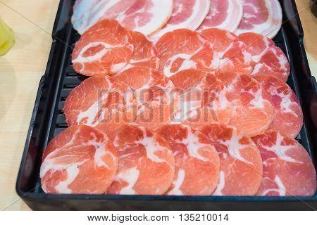 Raw Kurobuta Pork Slices On Plates, For Sukoyaki And Yakiniku Hot Pot Shabu, Japanese Food