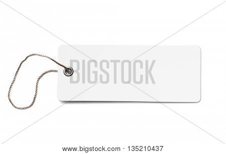 Blank white cardboard price tag or label isolated