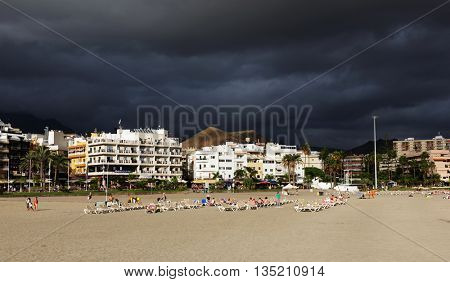 Stormy clouds over Los Cristianos in Tenerife, Canary Islands, Spain