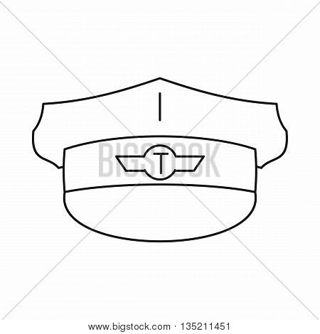 Cap taxi driver icon in outline style isolated on white background