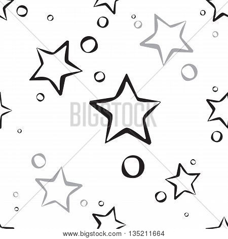 Abstract Star Pattern. A Seamless Background. Black And White Texture.
