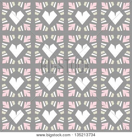 Seamless vector pattern heart tile and grid background