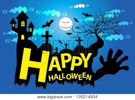 Happy Halloween holiday cartoon festival background vector illustration.