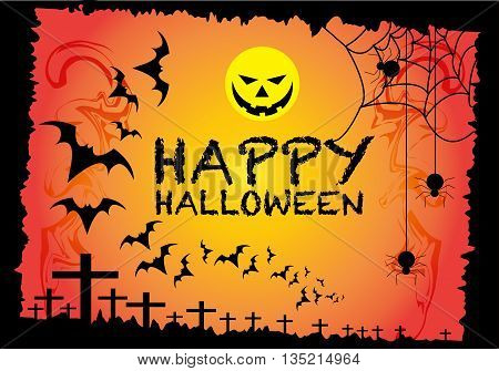 Happy Halloween holiday festival orange background vector illustration.