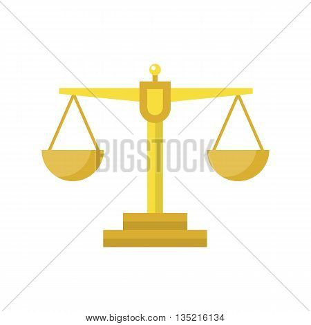 Gold Libra icon. Libra vector illustration. Symbol of femida court and judge. Compare sign. Measurement flat icon.