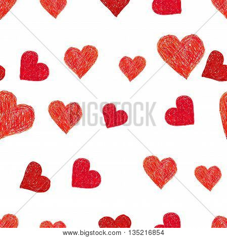 Hand-drawn doodle seamless pattern with hearts. Red heart vector background. Perfect for Valentine's day design
