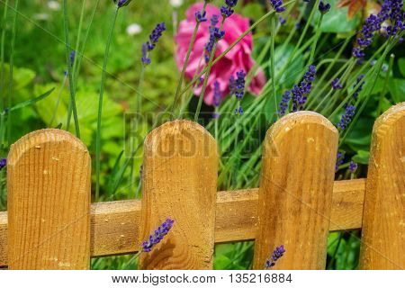 small garden fence of wood in front flowerbed