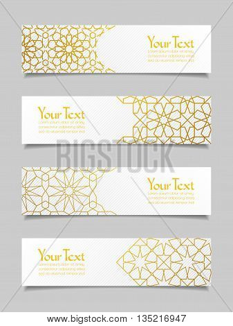 Set of banners with traditional ornament. Vector illustration.