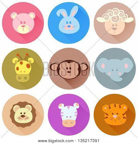 Cartoon vector icons of animals flat, set