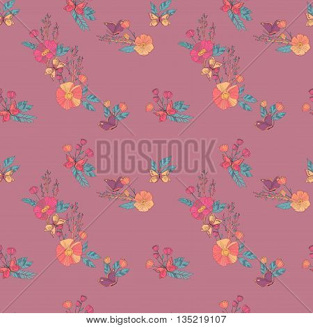 Floral Seamless Vintage Pattern With Wildflowers and Butterfly. Hand Drawn Illustration