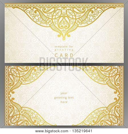 Vintage Ornate Cards In Oriental Style.