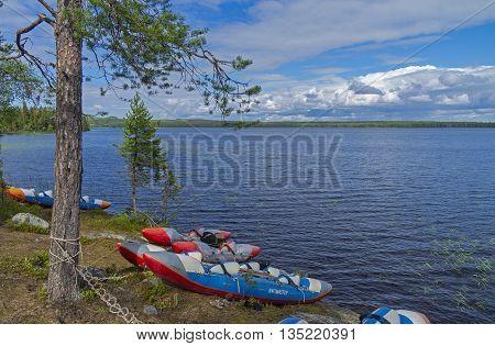 RUSSIA KARELIA LAKE VAYKULSKOE - AUGUST 10 2015: Sport catamarans on the lake. Vaykulskoe Lake Karelia.