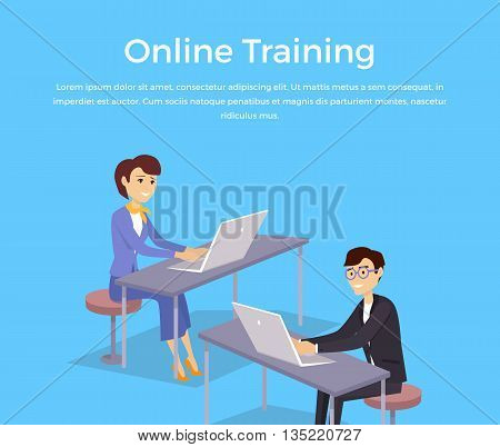 Online training banner design concept. Man and woman sitting with laptops and remotely study. Online training and education with technology network internet for business, vector illustration