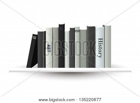 White book shelf. Vector illustration. Bookstore indoor.