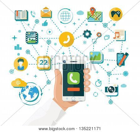 Smartphone functions and content design flat style. Mobile smartphone technology in hand, phone with internet app online for communication service, network social application, vector illustration