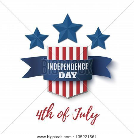 Independence Day background, 4th of July template. Badge with blue ribbon and stars isolated on white . Vector illustration.
