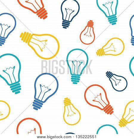 Simple colorful light bulb seamless pattern. Vector illustration.