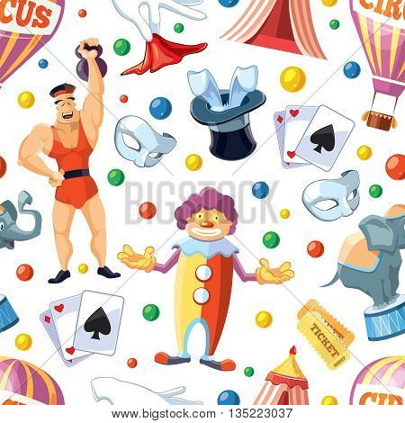 Vector seamless pattern of Circus entertainment. Flat style design for your personal projects