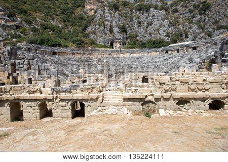 Ancient rock-cut tombs in Myra, Demre, Turkey