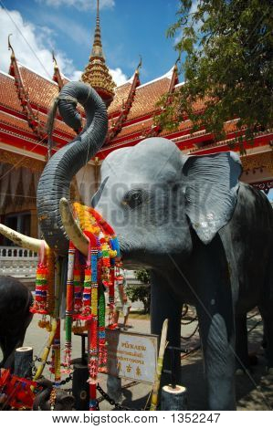Elephant at temple Wat Chalong Phuket Thailand poster