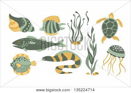 Stylized Underwater Nature Collection Of Icons In Flat Atristic Vector Design On White Background